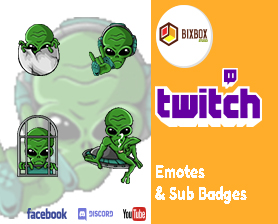Alien SUB BADGE OR EMOTE FOR TWITCH, FACEBOOK, YOUTUBE